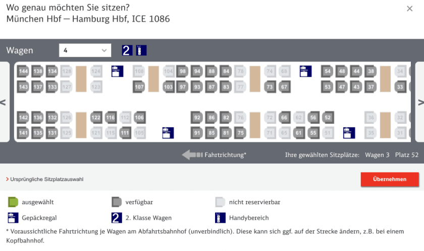 Bahn Seat map