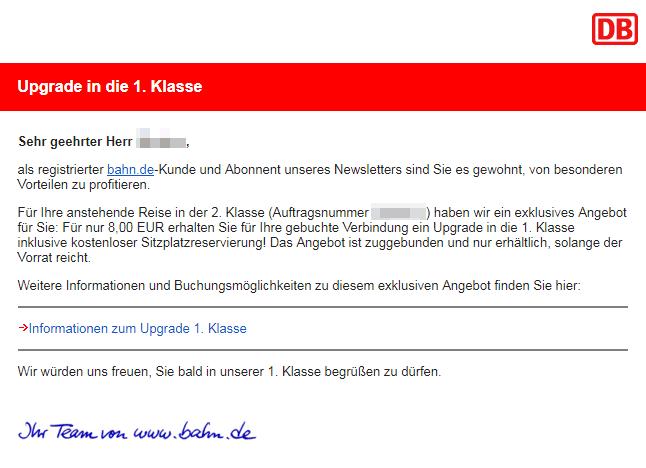 Bahn Uprade Email