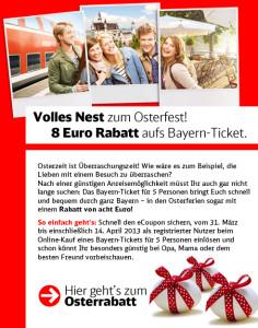 8 Euro eCoupon für das Bayern-Ticket.