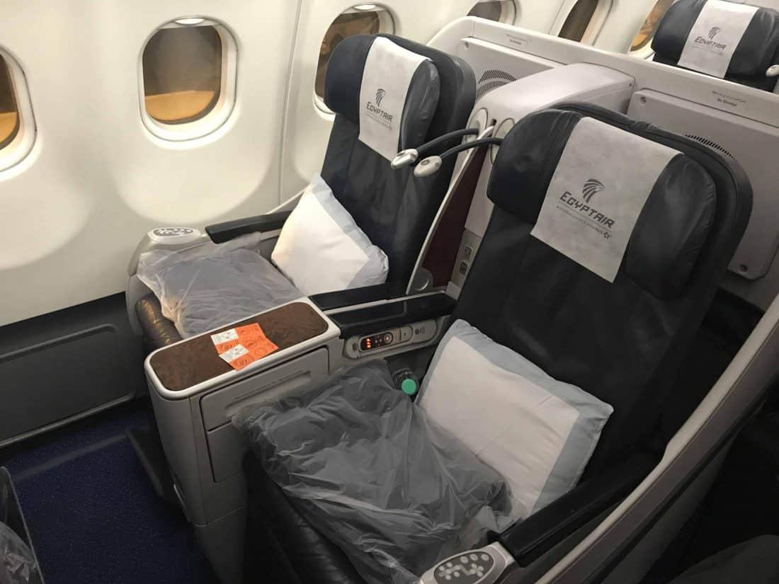 Bewertung EgyptAir Business Class A330 BKK CAI Der Sitz
