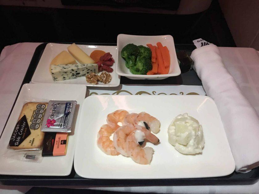 Bewertung EgyptAir Business Class A330 BKK CAI Essen Vorspeise