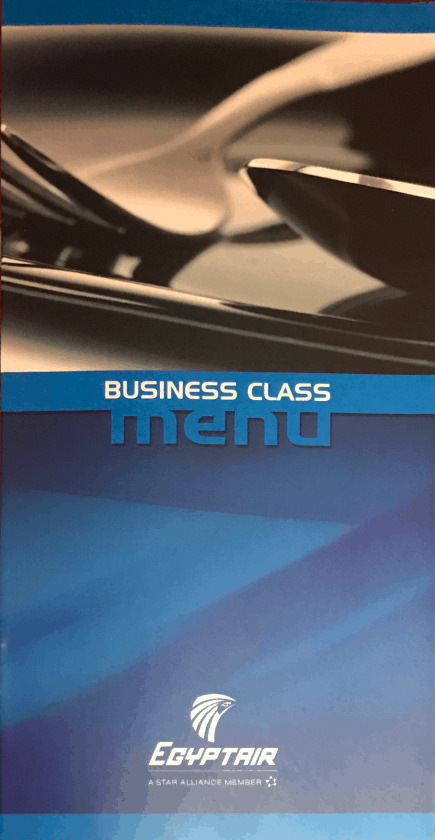 Bewertung EgyptAir Business Class A330 BKK CAI Menu 1