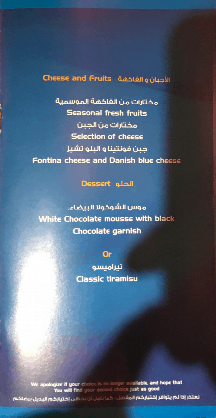 Bewertung EgyptAir Business Class A330 BKK CAI Menu 5