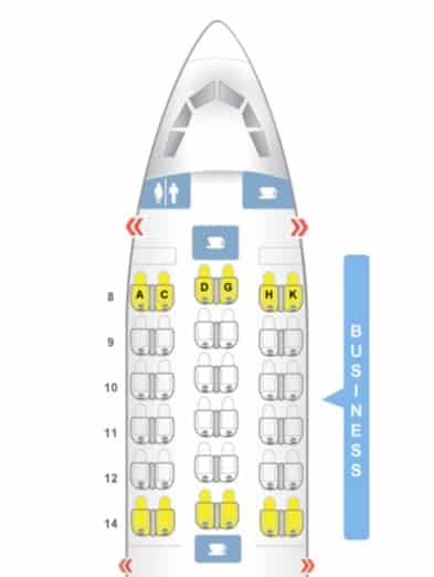 Bewertung EgyptAir Business Class A330 BKK CAI SeatMap