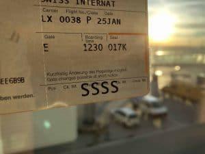 Boarding Pass SSSS