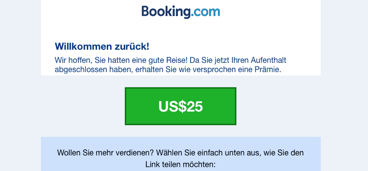 Booking.com Prämie
