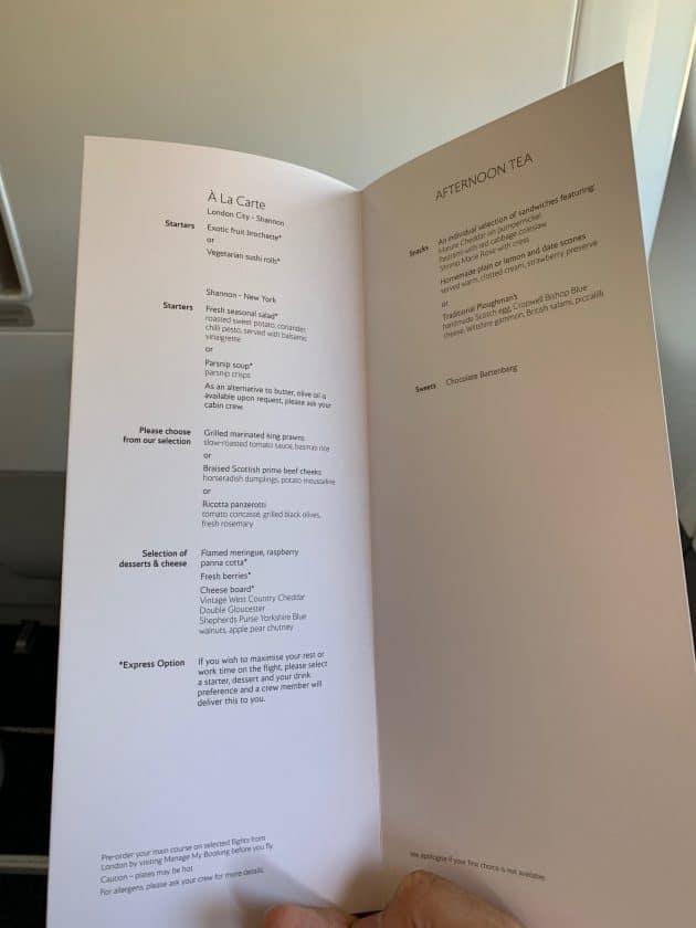 British Airways BA1 Speisekarte Mahlzeiten
