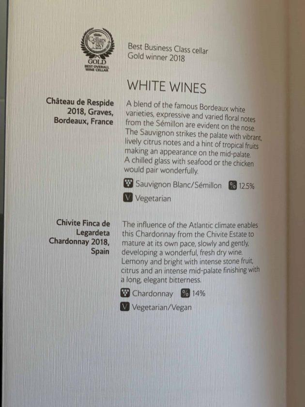 British Airways BA1 Speisekarte Wein