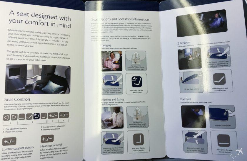 British Airways Club World Ausstattung Sitze