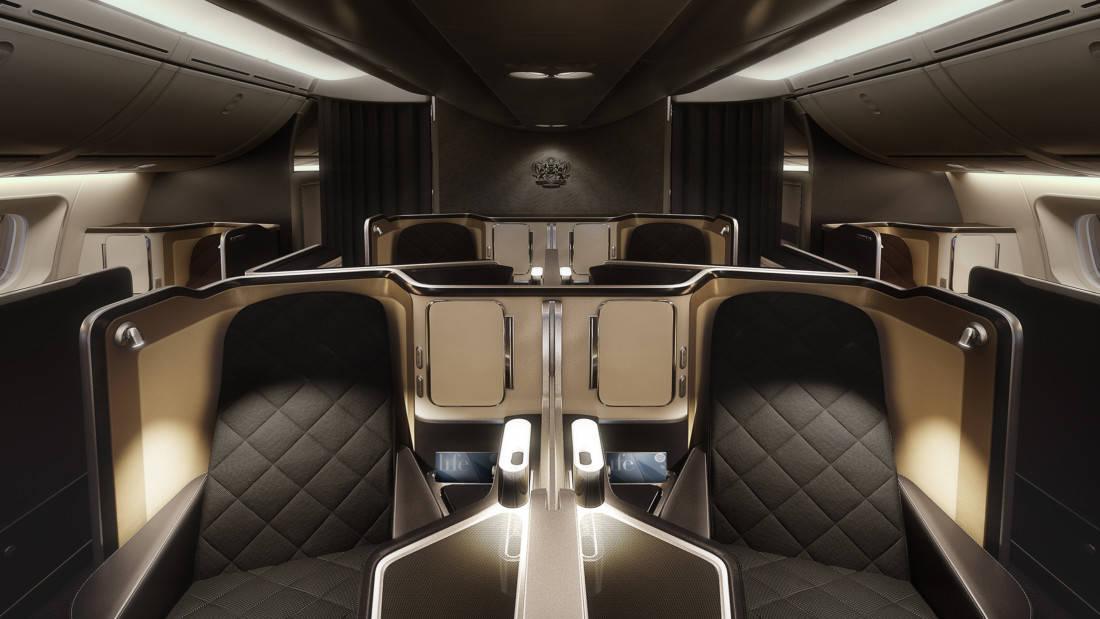 British Airways First Class Kabine Boeing 787 dunkel