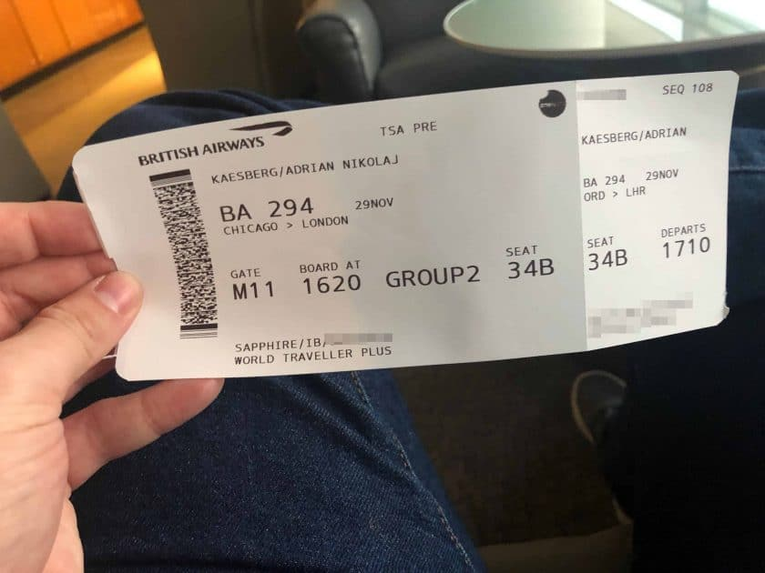 British Airways Prem Eco Bewertung Bordkarte