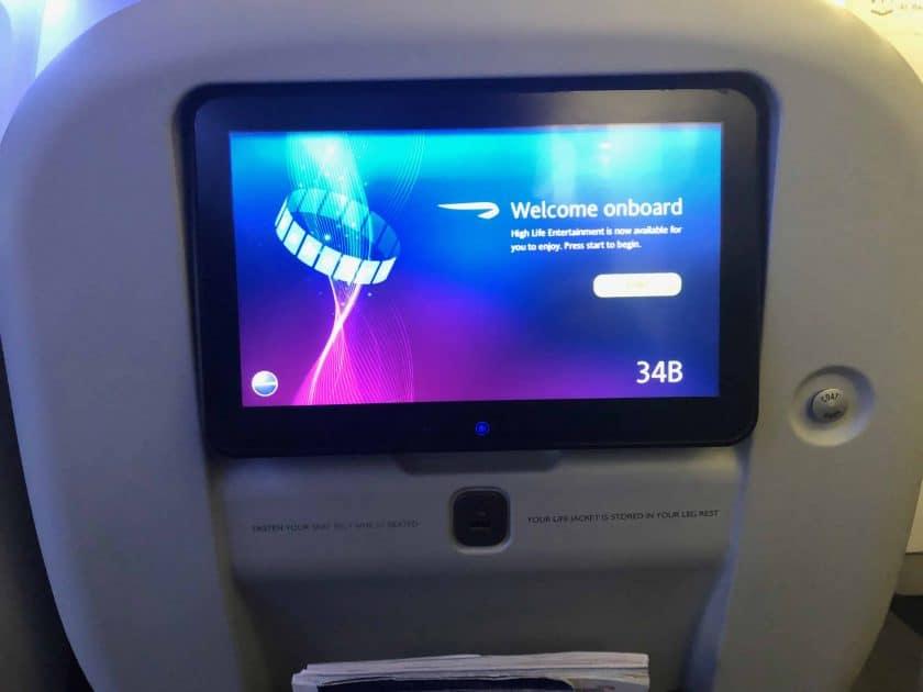 British Airways Prem Eco Bewertung IFE