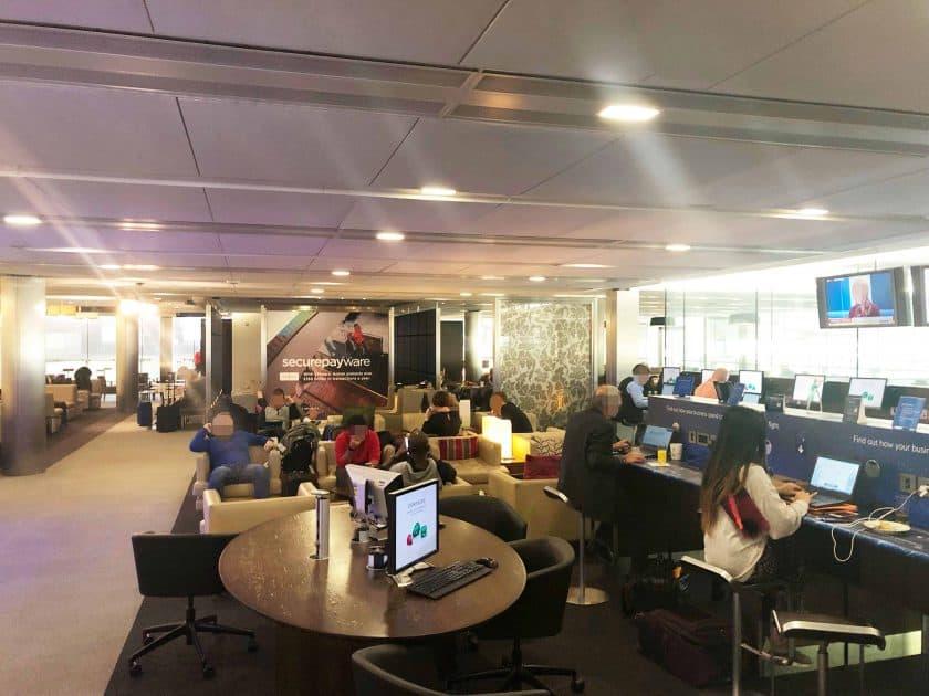 British Airways Prem Eco Bewertung London Lounge uebersicht