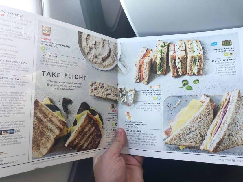 British Airways Prem Eco Bewertung London Menue Speisen