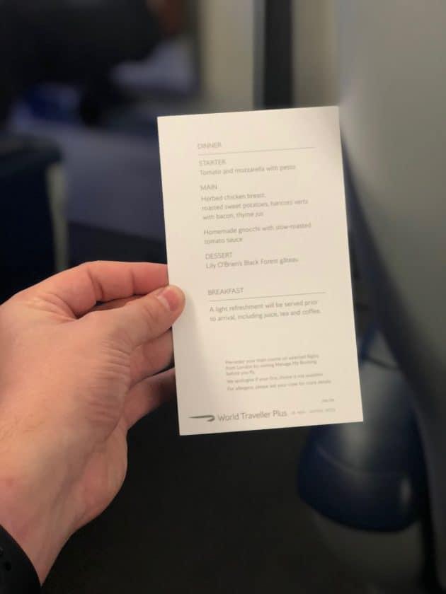 British Airways Prem Eco Bewertung Speise