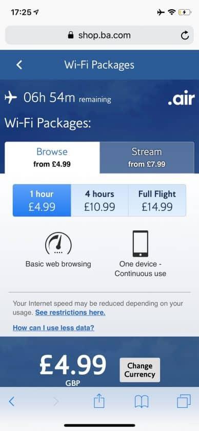 British Airways Prem Eco Bewertung Wifi