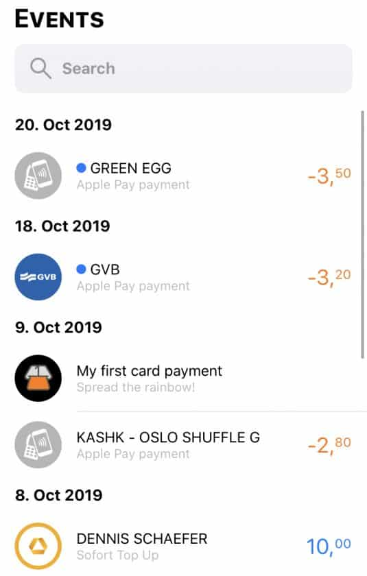 Bunq Travel Card App Events