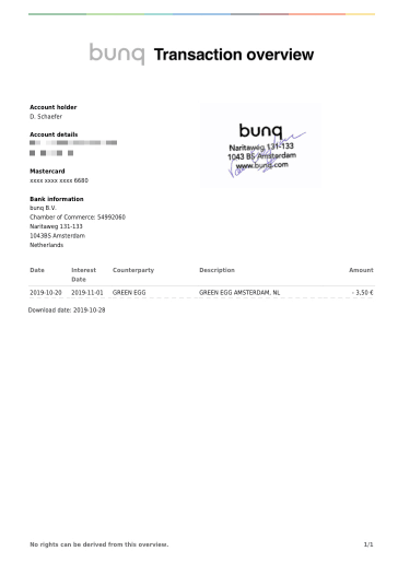 Bunq Travel Card Payment Proof