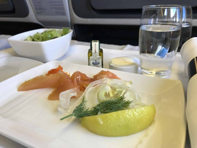 Cathay Pacific Business Class Review Food Salmon Starter