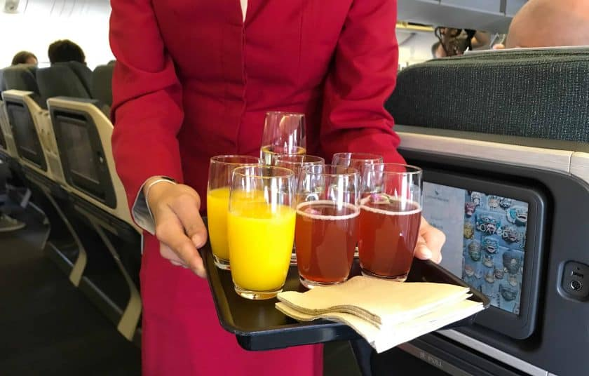 Cathay Pacific Business Class Review Welcome Drinks