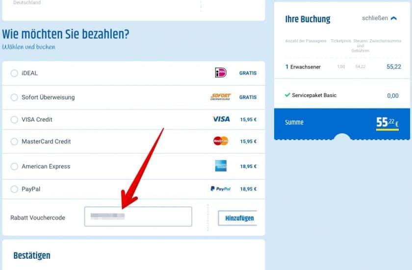 Cheaptickets Gutscheinfeld