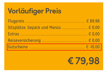 Condor Gutschein abgezogen