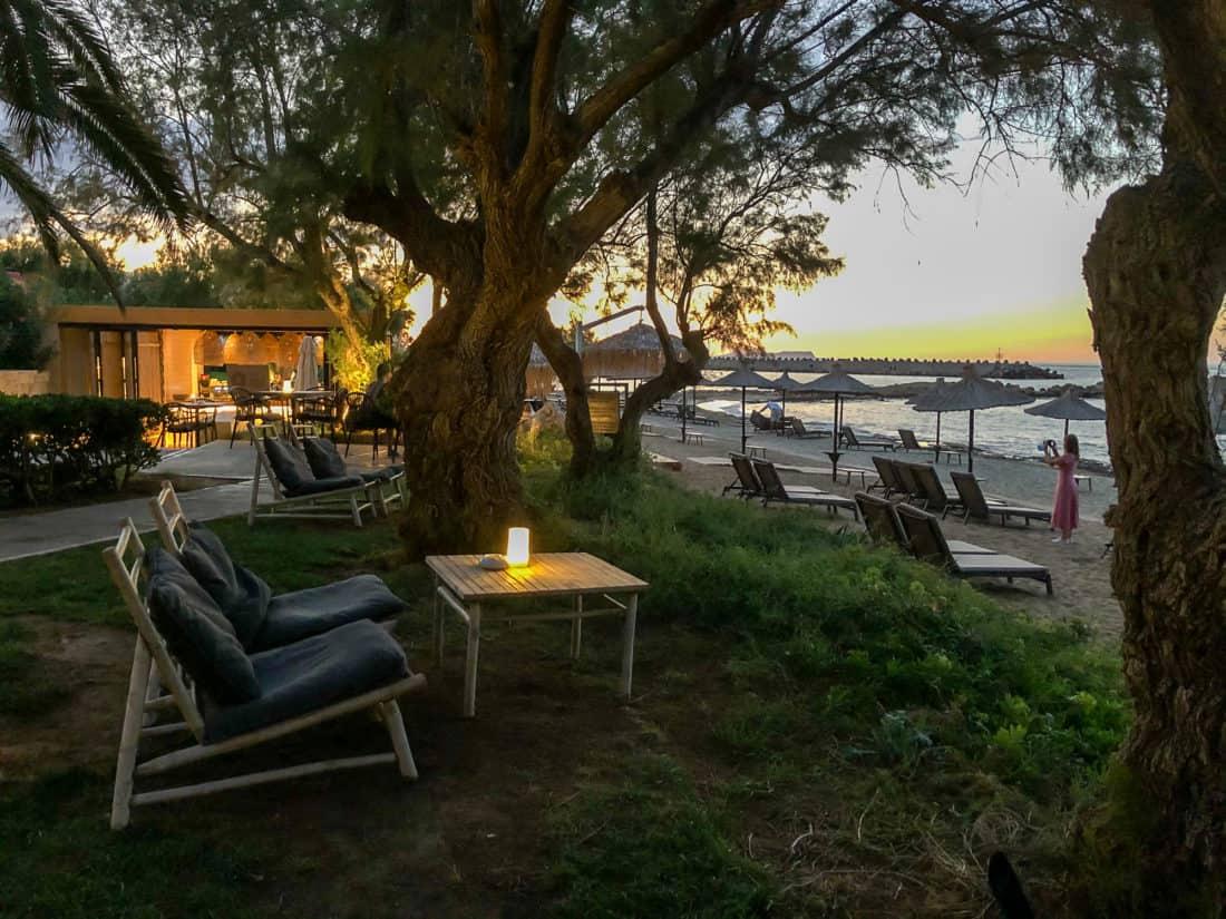 Cretan Malia Park Resort Beach Bar Sonnenuntergang