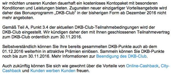 DKB-Club Einstellung