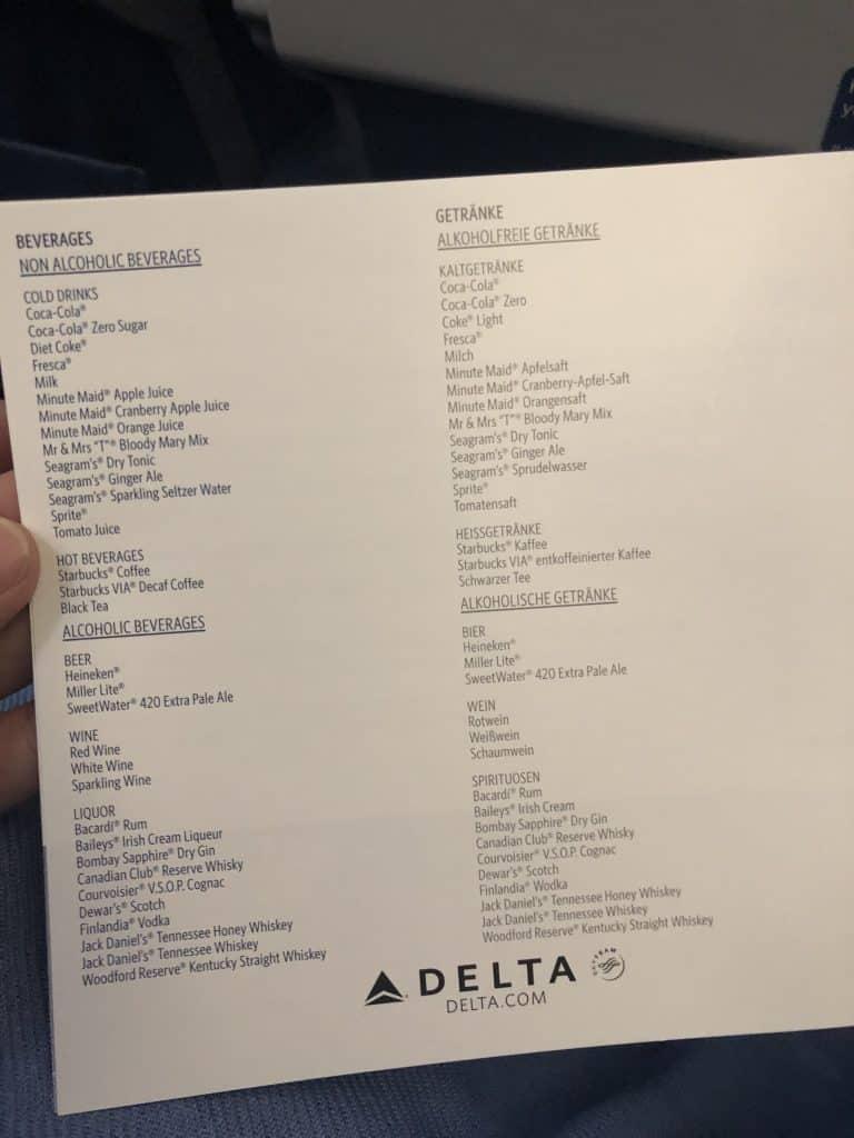 Delta Bewertung Speisekarte