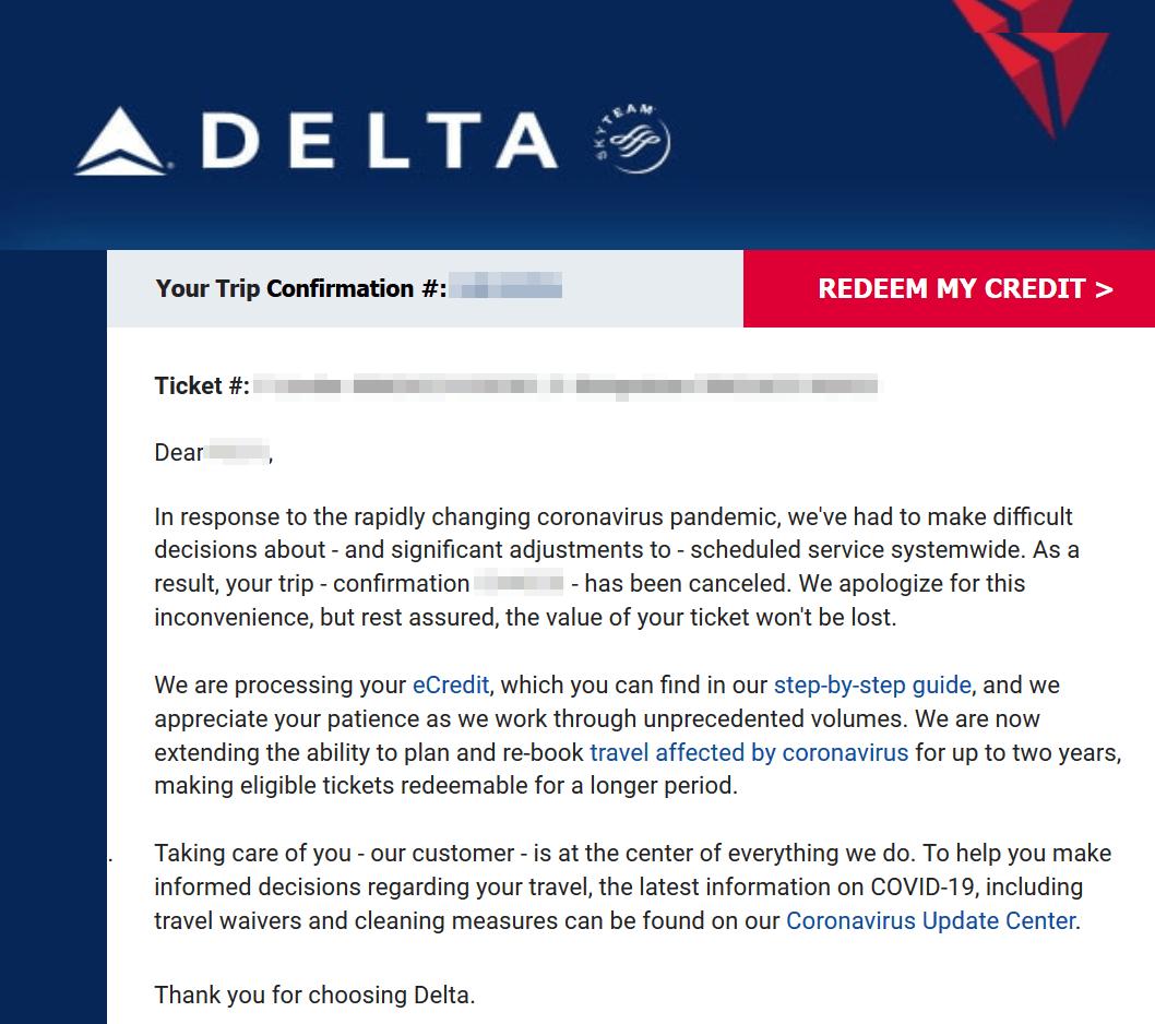 Delta Mail ohne Fluggastrechte