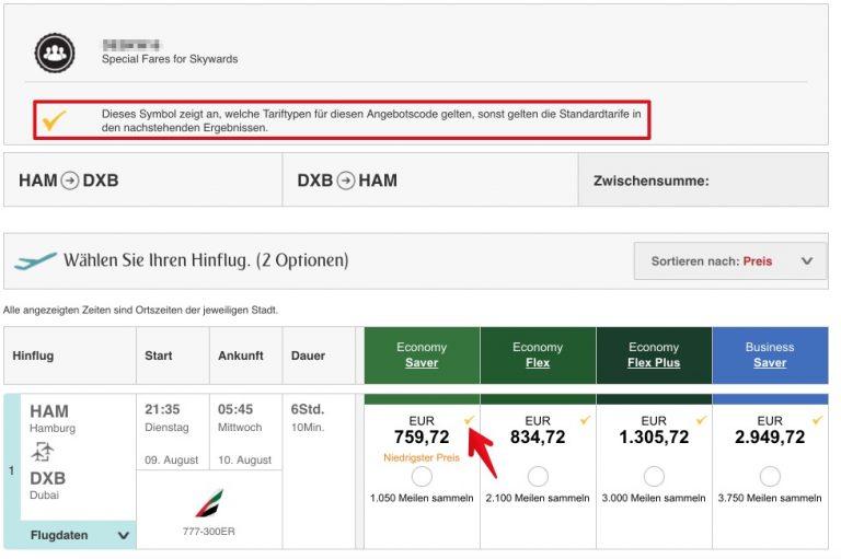 Emirates Gutschein eingelöst