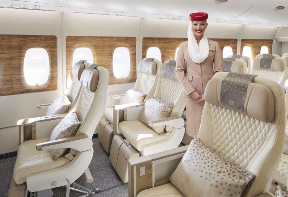 Emirates Premium Economy Sitz Kabinenansicht