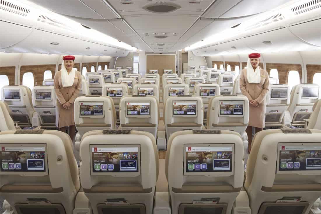 Emirates Premium Economy Sitz Rückansicht