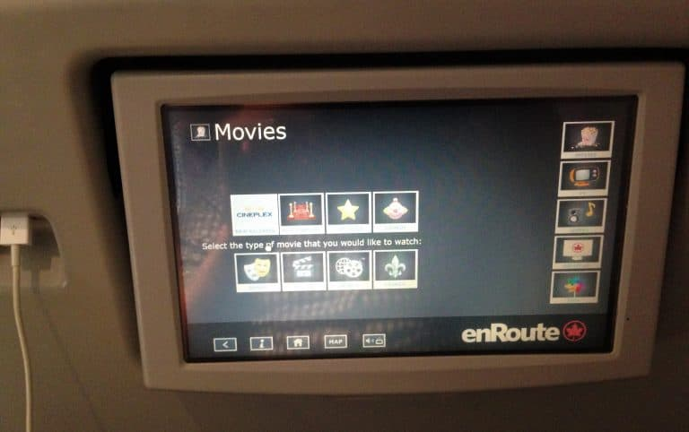 In Flight Entertainment Air Canada