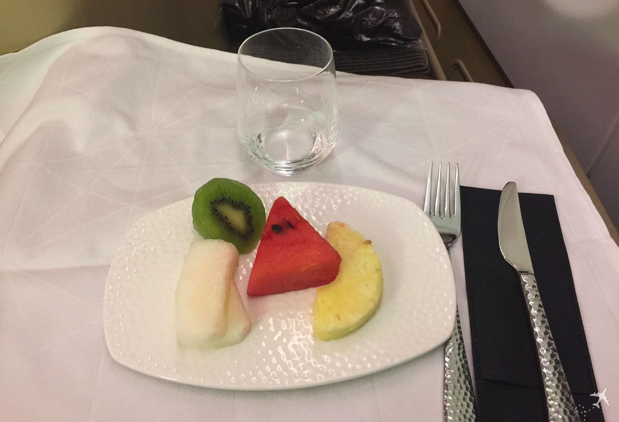 Etihad Airways Business Class Boeing 777 Nachtisch