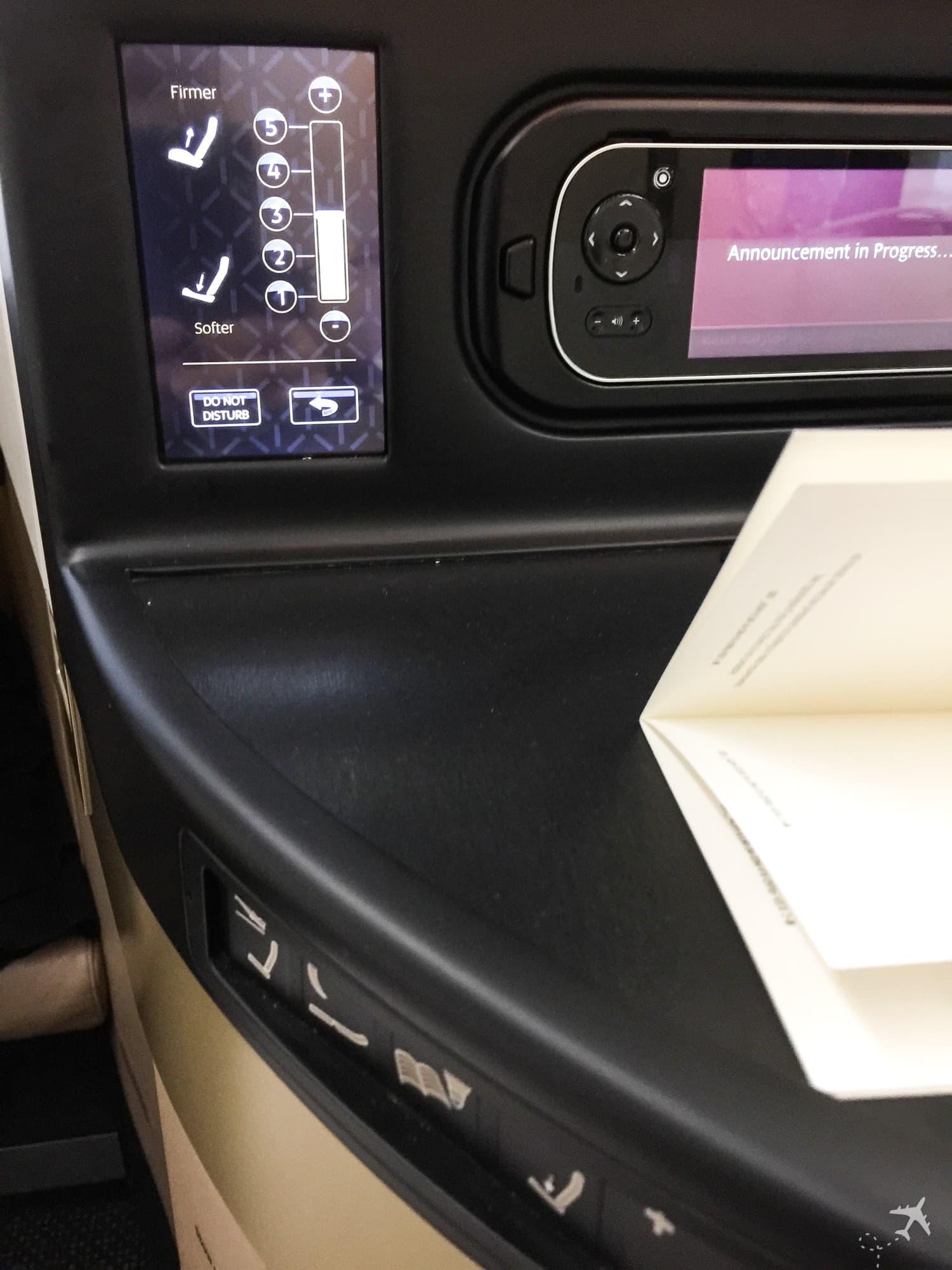 Etihad Airways Business Class Boeing 787 Sitzeinstellungen