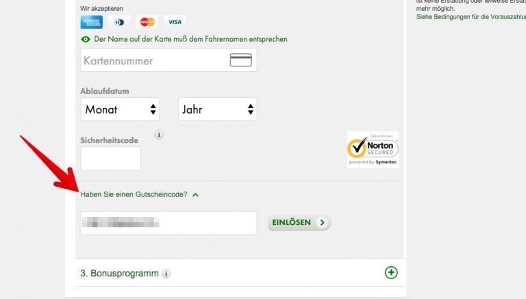 Europcar Gutscheinfeld