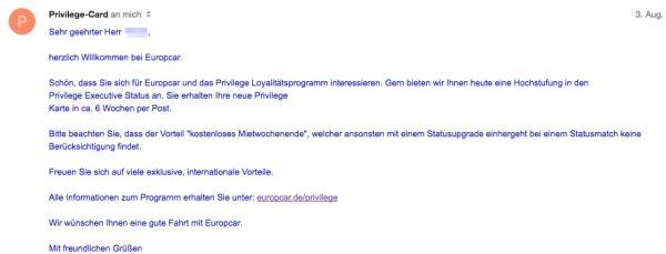 Europcar Privilage Status Match Bestätigung