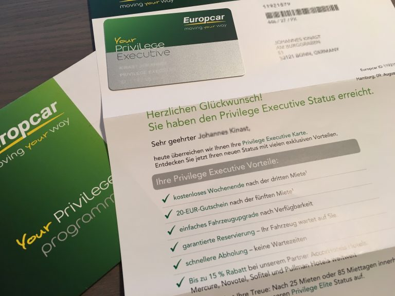 Europcar Privilege Club Executive