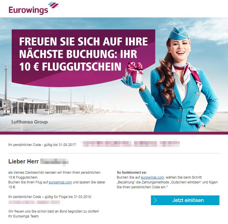 Eurowings Gutschein-Mail