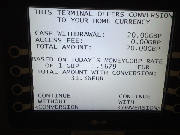 Dynamic Currency Conversion London-Stansted Airport, Großbritannien