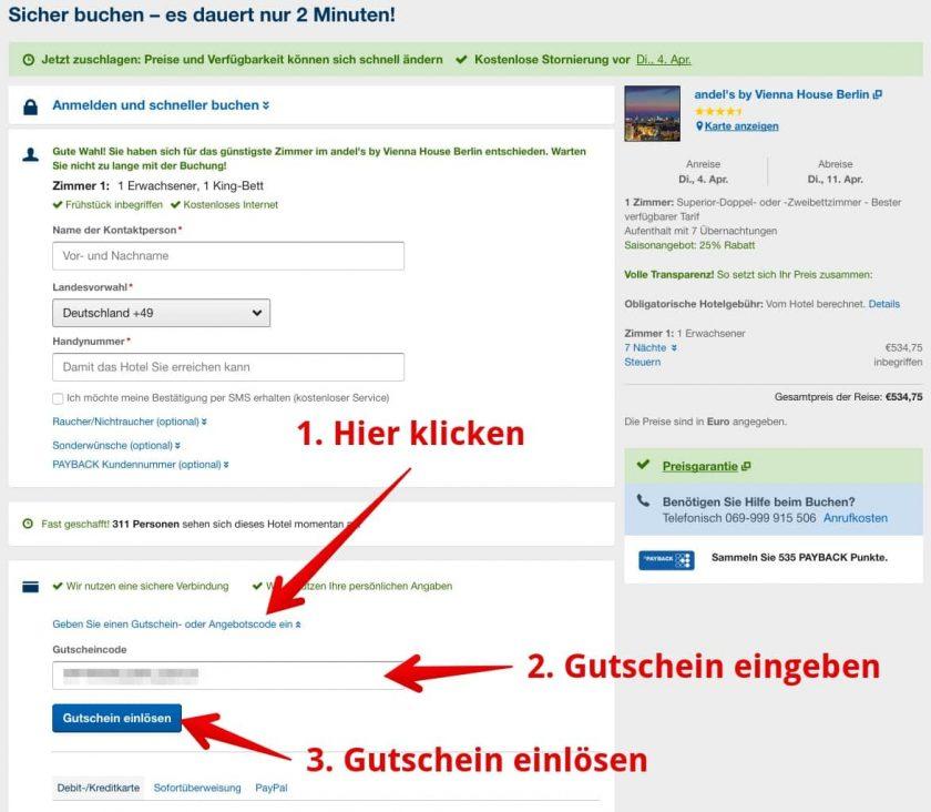 Gutscheinfeld Expedia