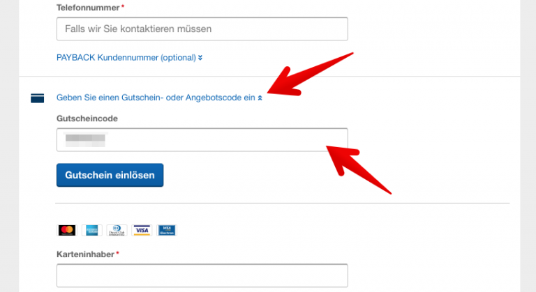 Expedia Gutscheinfeld Aktivitäten