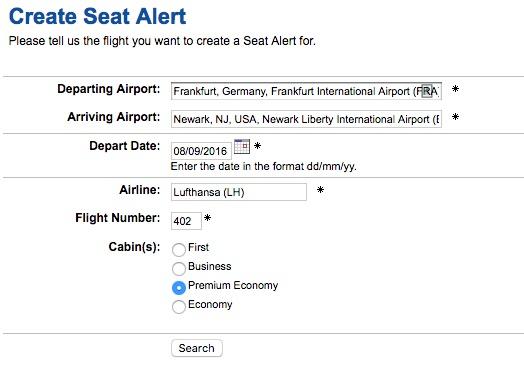 ExpertFlyer Sitzalarm Übersicht Flug suchen