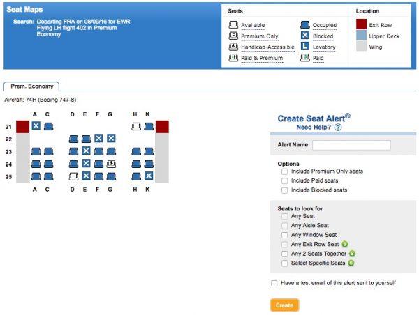ExpertFlyer Sitzalarm Seatmap