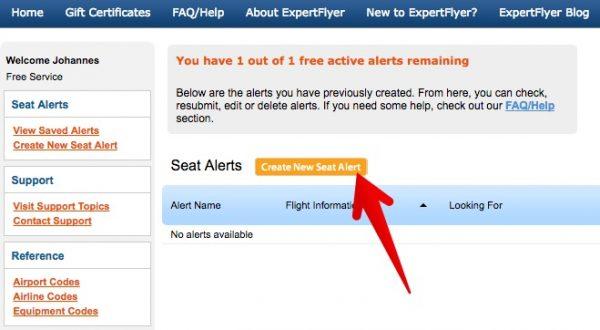 ExpertFlyer Sitzalarm Übersicht