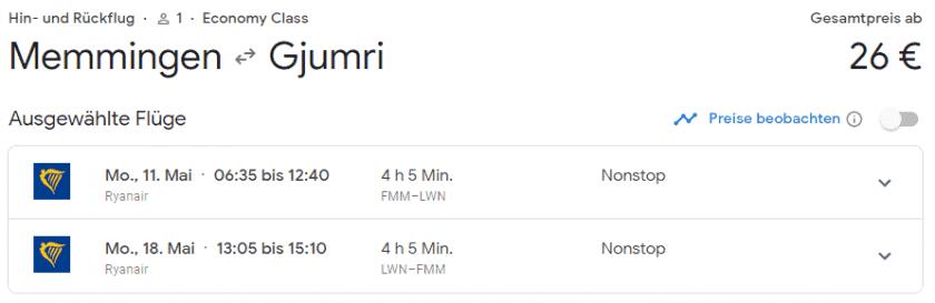 flüge nach armenien
