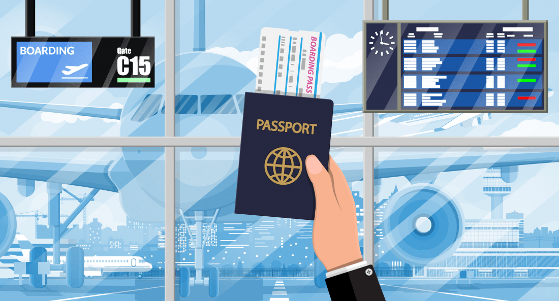 Flughafen Reisepass Boarding Pass