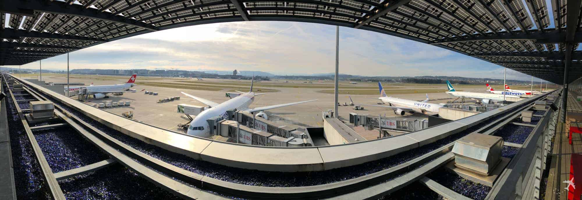 Flughafen Zürich Aussicht E Gates Panorama