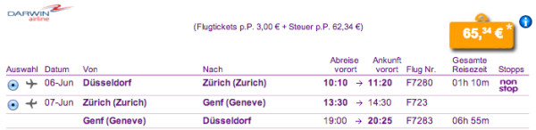 Düsseldorf - Genf für 65€